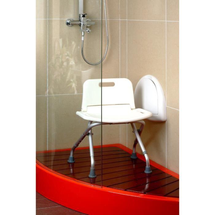 Chaise de douche pliante AUTONOMIE ET BIEN ÊTRE TMI 3471 - Tubes aluminium et assise ABS - Hauteur ajustable - Blanc