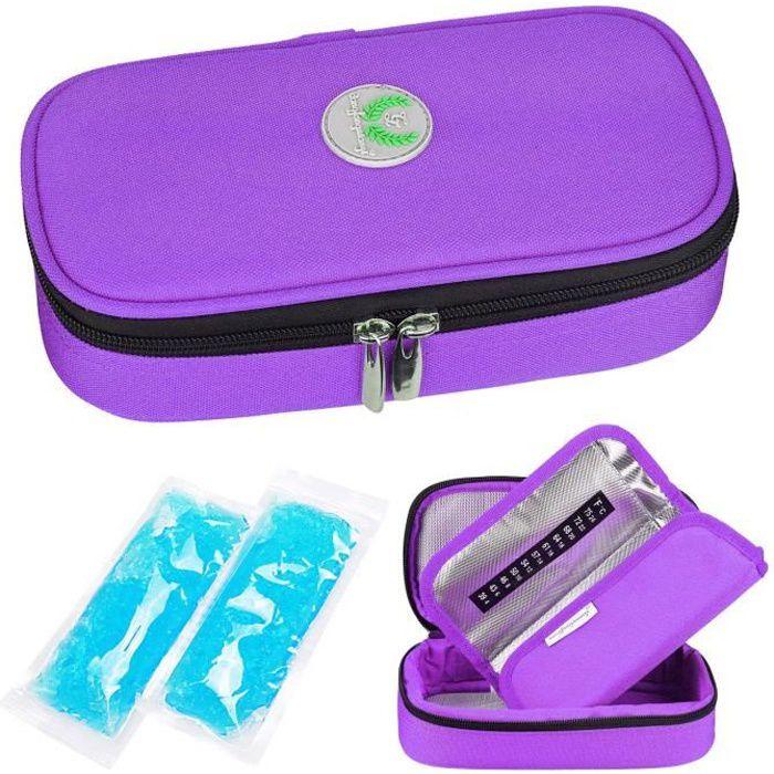YOUSHARES Insuline Trousse Pochette Isotherme Sac pour Diabétique Et Stylos a Insuline Avec 2 Poches de Gel Chaud-Froid, Violet