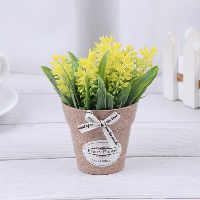 Plante artificielle fleur décorative décoration de la maison fausse fleur petite Mini pot bonsaï plante verte 1 - Jaune