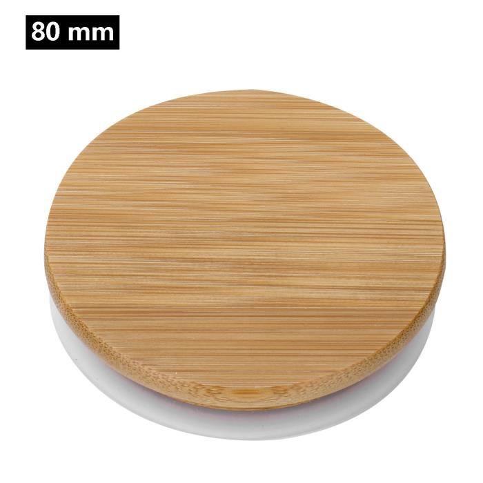 Boite à aliments,Couvercles réutilisables de couvercles de bambou couvercles de pot de maçon couvre les couvercles - Type 80mm