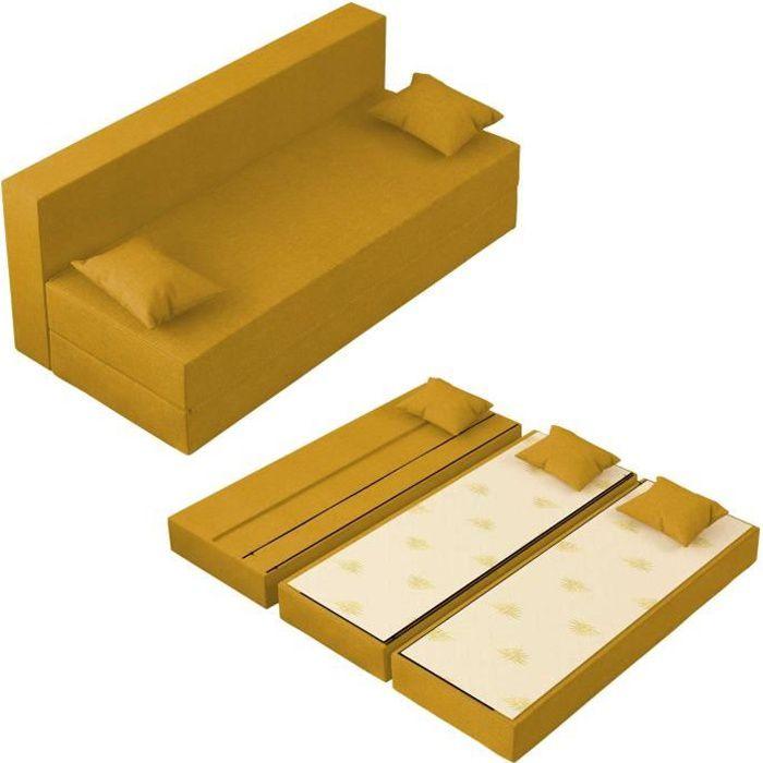 Canapé Lit TreTris Convertible Modulable Réversible 3 places - Tissu dehoussable et lavable Couleur Ambre