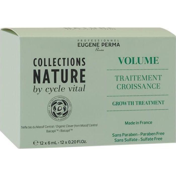 Eugène Perma Collections Nature by Cycle Vital, Traitement de croissance 12x6ml, Shampoing anti-chute Sans parabène, Sans sulfate