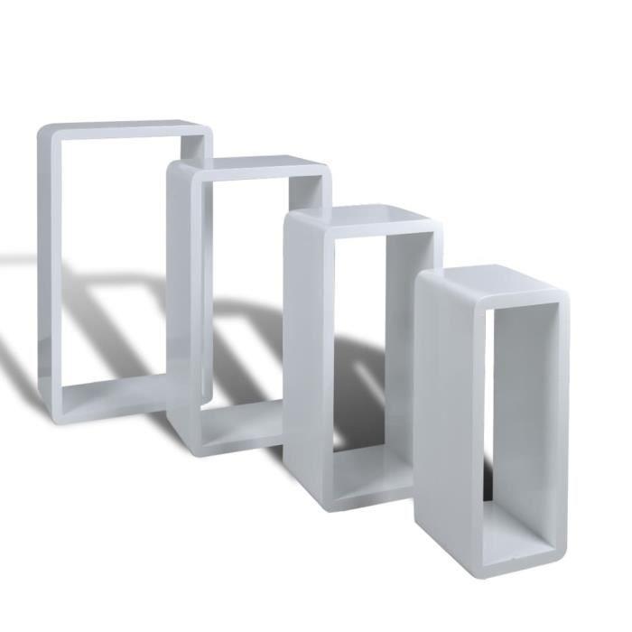 Etagères Design Murale 4 Cubes blanc HILILAND --LIS POIS: 4 ★