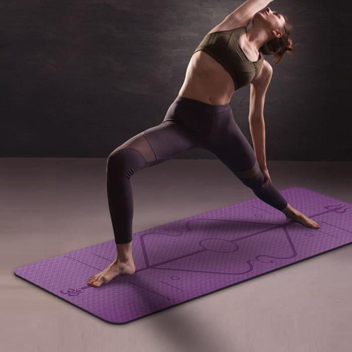 petrichorr Tapis Yoga -Tapis De Sport Fitness a La Maison -Tapis de Pilates,Poids léger,Antidérapant 183 * 61 * 0,6 cm violet foncé