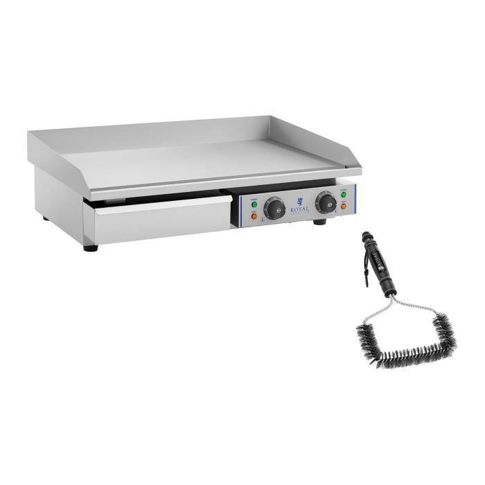 Kit Plancha Électrique Double Professionnelle Inox Grill Royal Catering RCEG-75-SET (Plaque 72,5 x 35 cm, 2 x 2 200 W, Lisse)