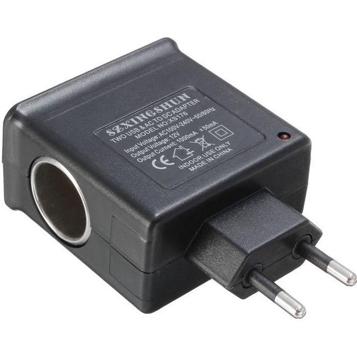 Prise Voiture AC 220V DC 12V 2 USB Allume Cigare Chargeur Adaptateur Secteur EU PLUG