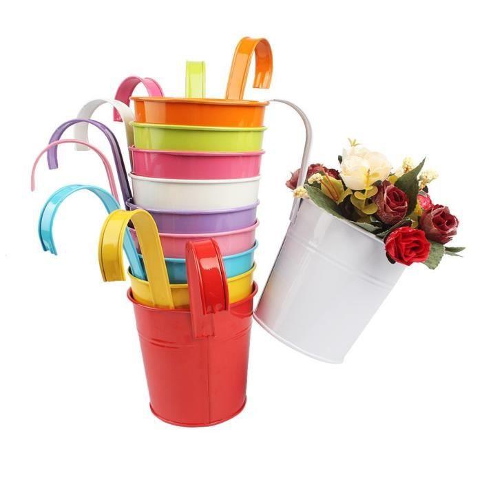 10 pcs Pots de Fleurs Pot Plante Suspendu 10 Couleurs Pots Fleur Métal Fer Balcon Jardin Maison Décoration