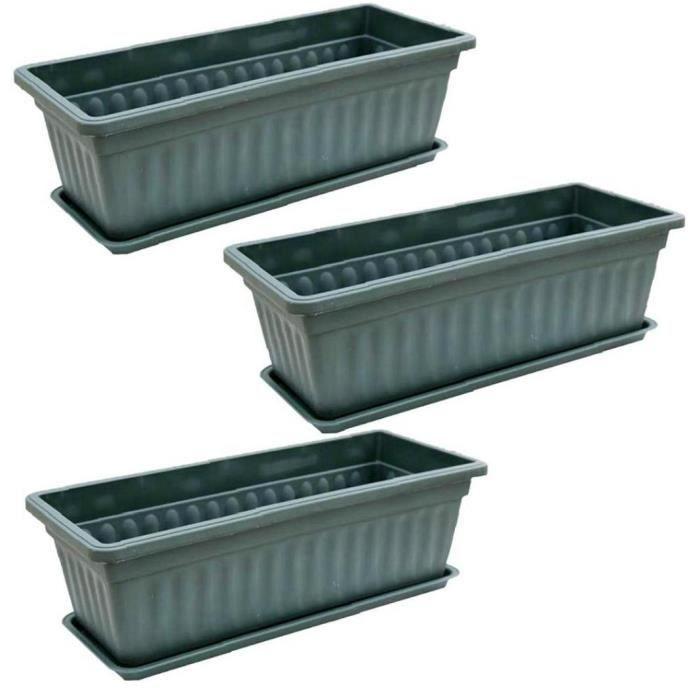 Jardinière de la boîte de fenêtre, 3pcs Rectangular Windowsill Flower Pot Pot Pottables Conteneur de culture pour Patio Jardin Green