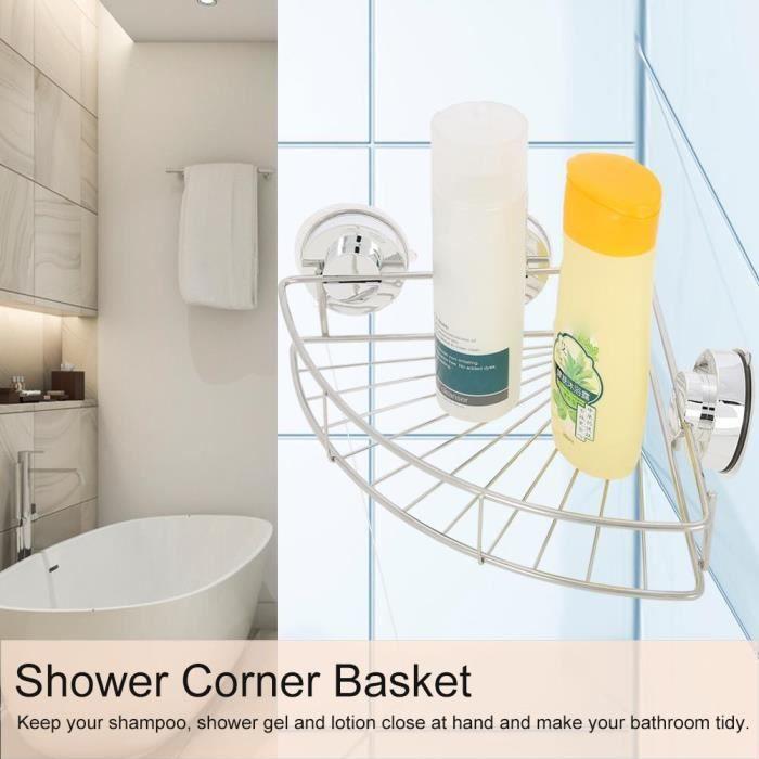 Panier d'angle de douche avec accessoires d'installation Organisateur De Stockage De Salle De Bains- Hauteur 7cm