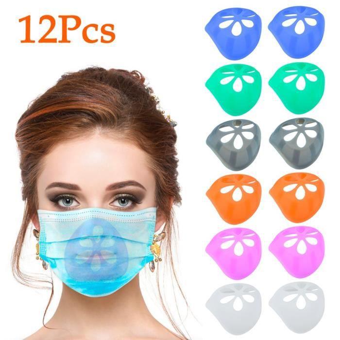 3pcsxBlanc+3pcsxTissu Filtre 3 Pcs Silicone Masque Supports,R/éutilisable Cadre de Support de Masque,Coussin Int/érieur pour Masqueavec Housse en Tissu Filtre dabsinthe VAGAV Support de Masque 3D