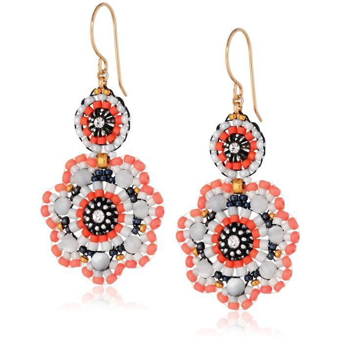 Miguel Ases Mother-of-pearl And Coral Miyuki Flower Drop Earrings E69P8