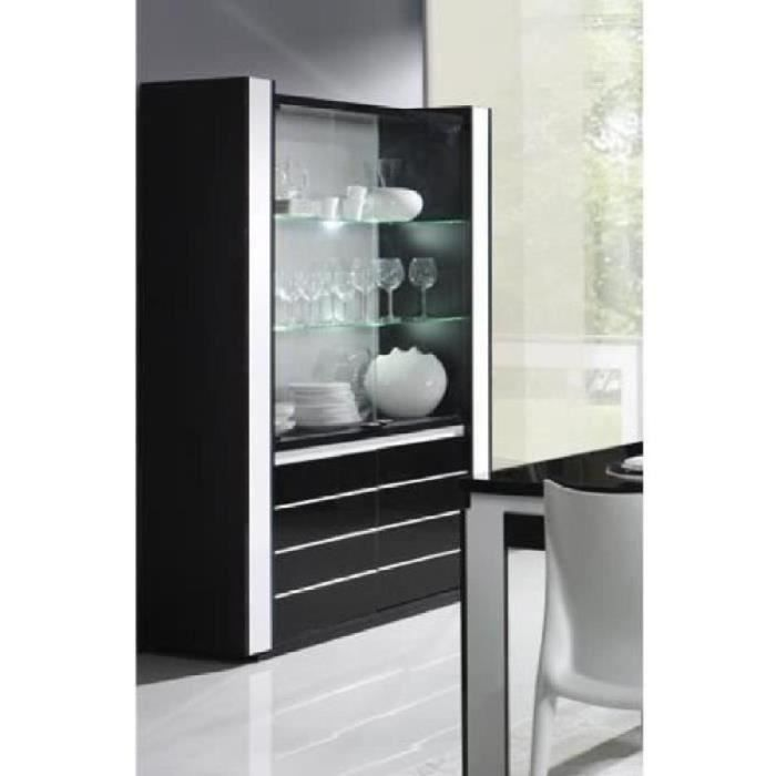 vitrine argentier vaisselier lina led noir blanc achat vente vitrine argentier vitrine. Black Bedroom Furniture Sets. Home Design Ideas