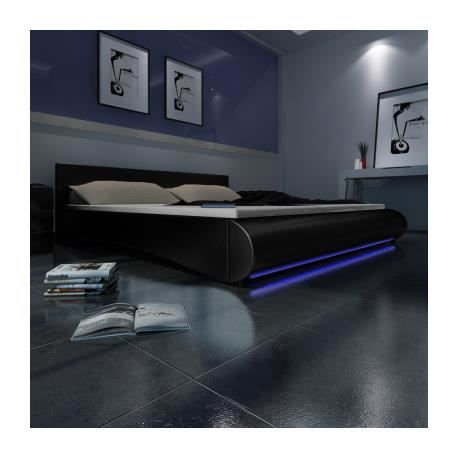 lit en pu avec t te de lit led 180 200 cm noir stylashop. Black Bedroom Furniture Sets. Home Design Ideas
