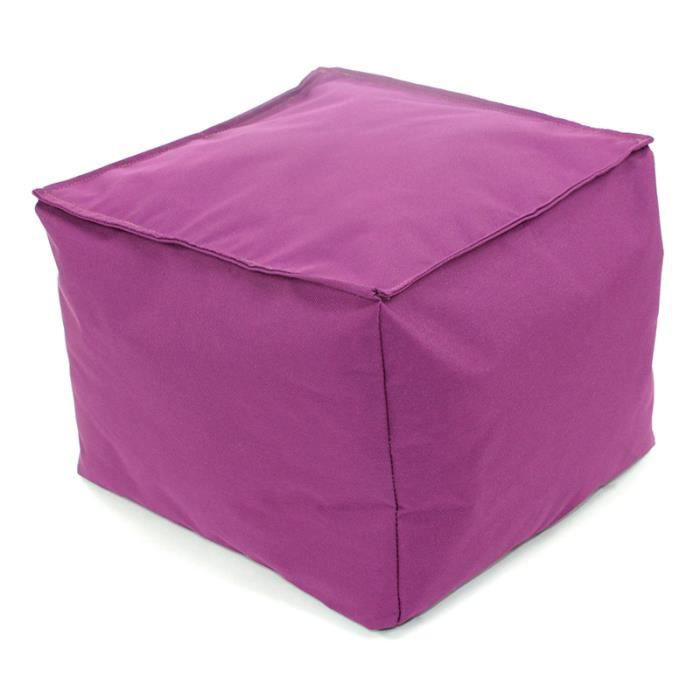 pouf tout carr int rieur ext rieur 40x40x20cm violet. Black Bedroom Furniture Sets. Home Design Ideas