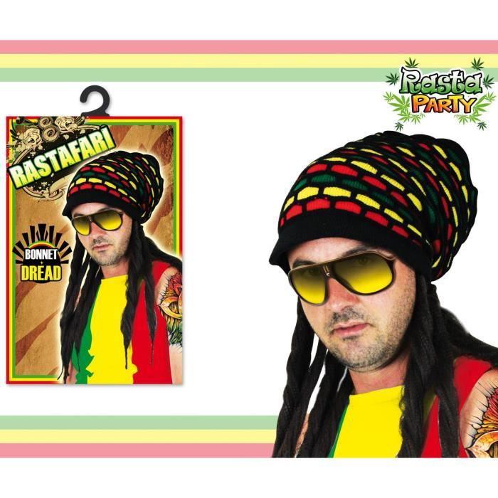 CHAPEAU - PERRUQUE Bonnet et dreads Rastafari -