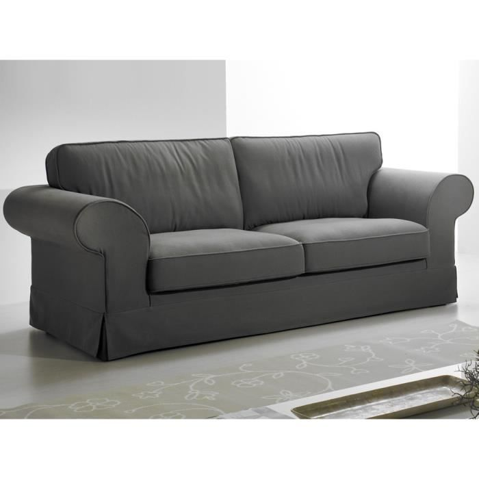 canap fixe tissu 3 places lisa gris achat vente canap sofa divan cdiscount. Black Bedroom Furniture Sets. Home Design Ideas