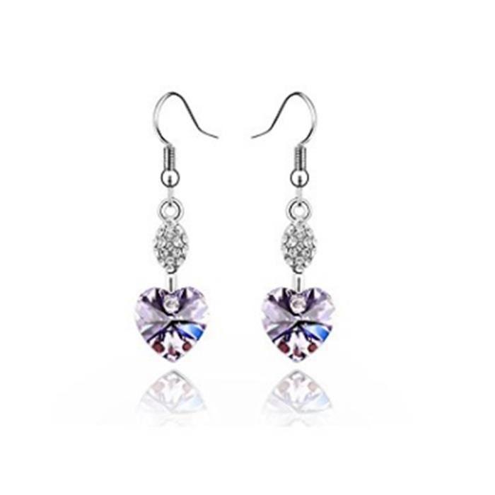 Luxueux S Blanc Violet Ronde Cubique Zircon Blanc Plaqué or Boucles d/'oreilles Créoles