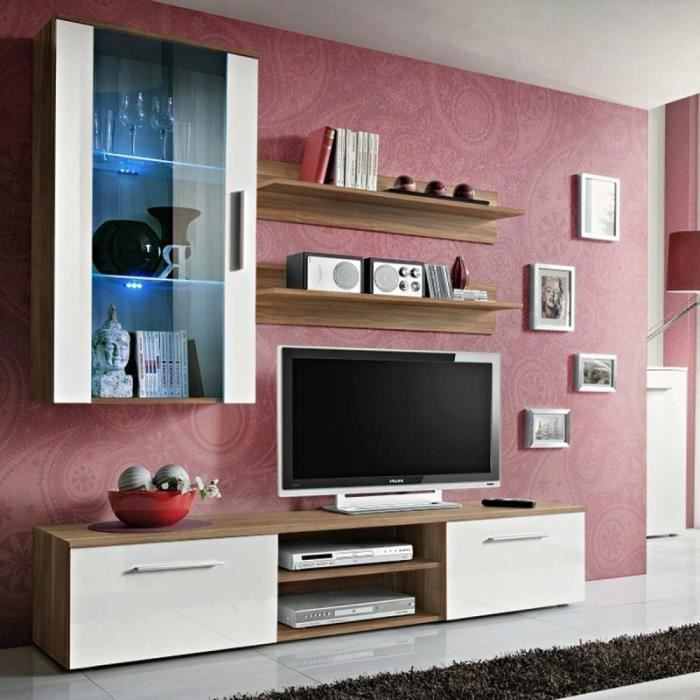 paris prix meuble tv mural design galino v wood blanc. Black Bedroom Furniture Sets. Home Design Ideas