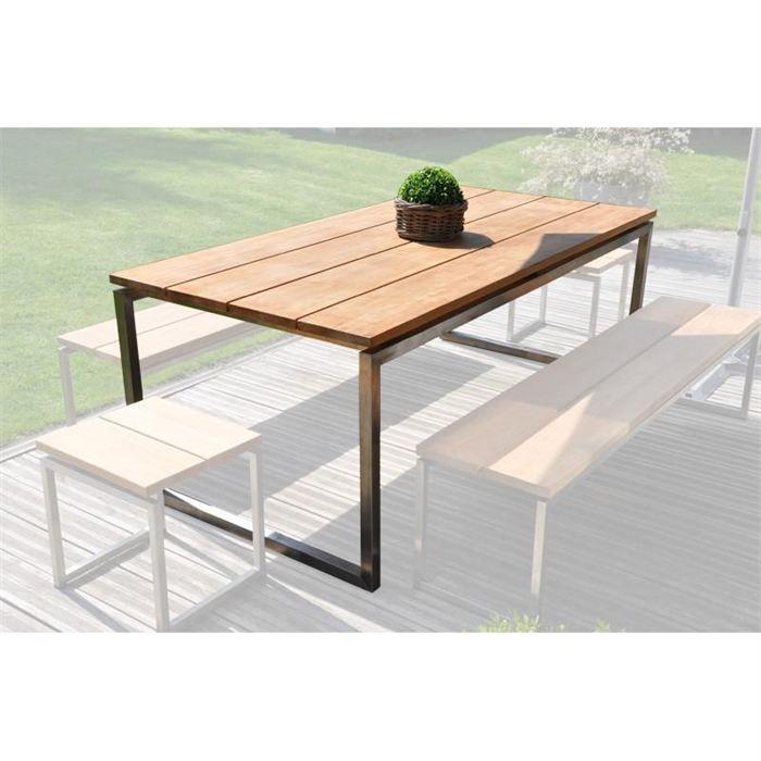 Table de jardin teck et inox Thales - Achat / Vente fauteuil ...