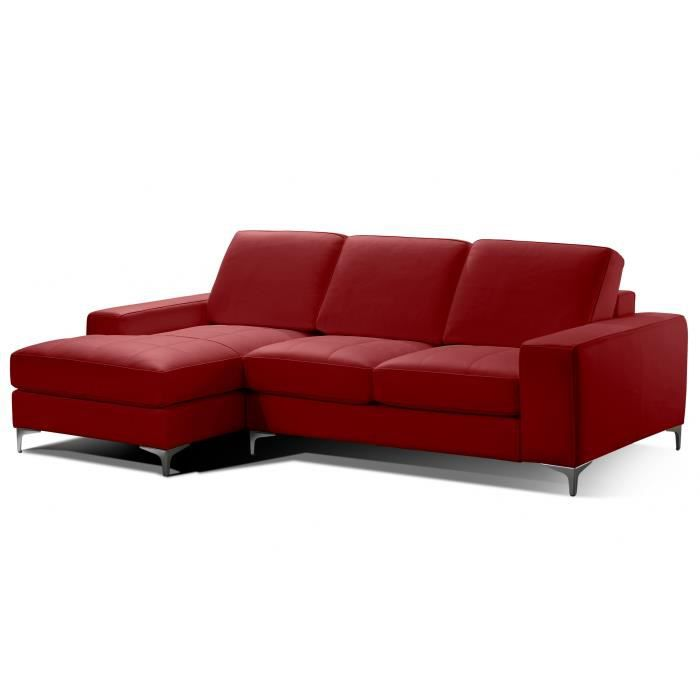 canap d 39 angle en cuir angle gauche rouge plus achat vente canap sofa divan cdiscount. Black Bedroom Furniture Sets. Home Design Ideas