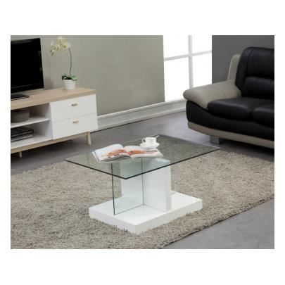 Table basse lexy laqu blanc plateau verre tre achat for Table basse laquee beige