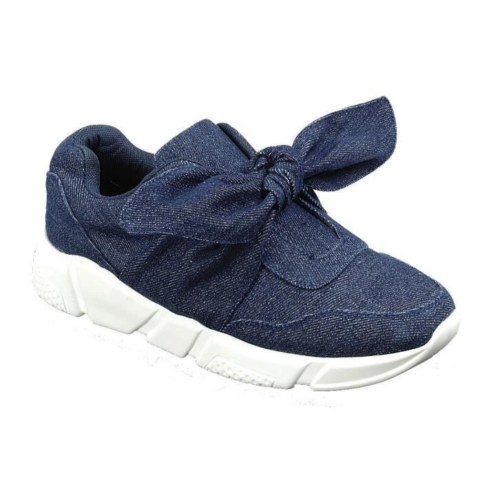 Slip-on Stretch Bow Casual Sport Fashion Sneaker UB5OU Taille-39