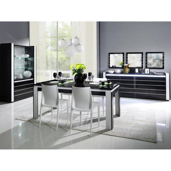 Vitrine argentier vaisselier LINA + LED noir/blanc - Achat ...