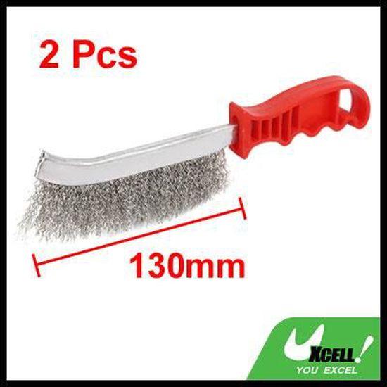 sourcingmap 5 pouces Zone 81cm long Brosse manche plast Scratch acier inox Brosse 2Pcs
