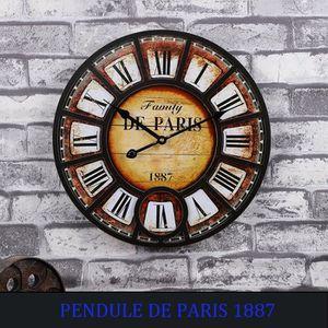 rond Dimensions: /Ø 33,8 cm x L 4 cm Mdf Rebecca Mobili Horloge au Mur Grande Marron Noir Style industriel Horloge decorative Art RE6152