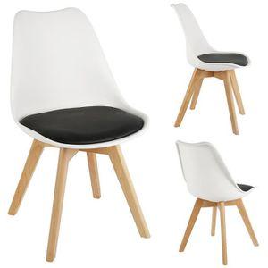 Lot De 4 Chaises Nordic Noir Blanc Assise Plastique Avec Coussin Confortable Achat Vente Chaise Cdiscount