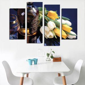 TABLEAU - TOILE 4 pieces/set Imprimer fleur toile mur art décorati