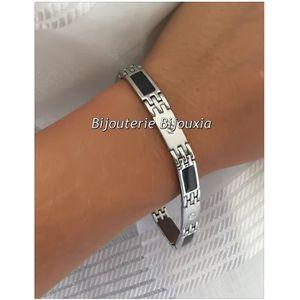 BRACELET - GOURMETTE Bracelet Homme Tendance Acier inoxydable Carbone