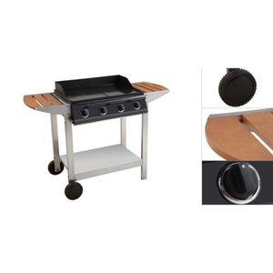 cuisine Desserte pour plancha au gaz Porthos 4 brûleurs chariot barbecue noir
