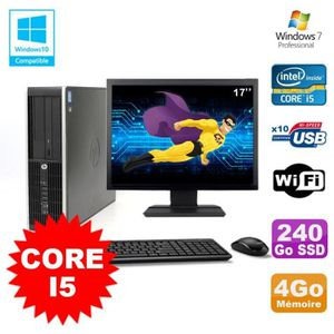 UNITÉ CENTRALE + ÉCRAN Lot PC HP Elite 8200 SFF Core I5 3.1GHz 4Go 240Go
