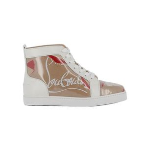 photos officielles 4c07b 55d93 CHRISTIAN LOUBOUTIN FEMME 3180009F245 BLANC CUIR BASKETS ...