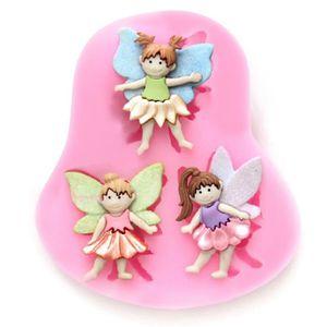 3D Fée Ange Elfe Silicone Fondant Mold Flower Girl gâteau Chocolat Pâtisserie Moule