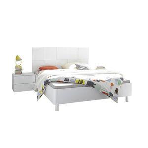 STRUCTURE DE LIT Cadre + Tête de lit 160*200 + chevets Blanc mat -