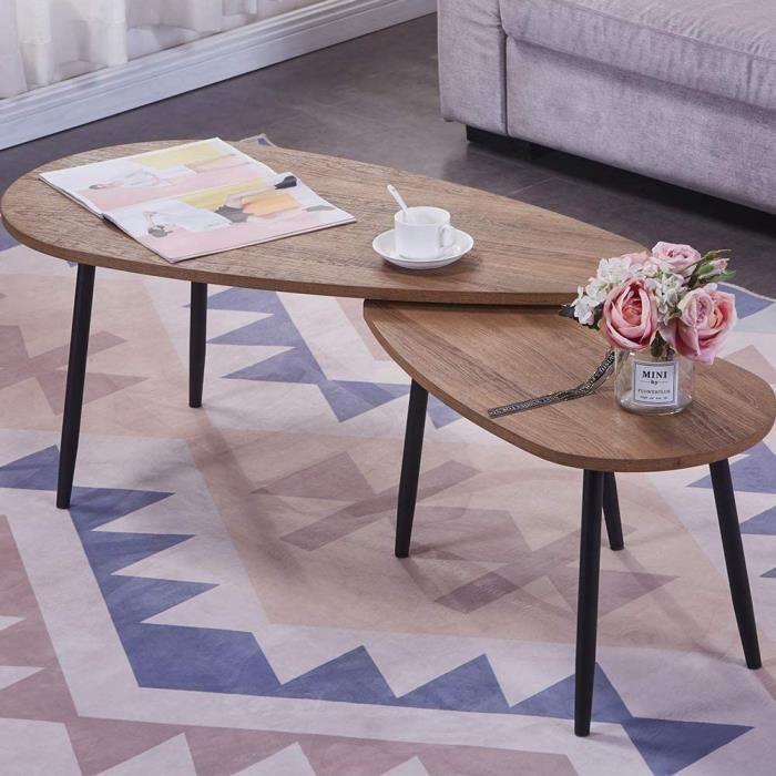 Table Basse Bois Moderne Lot de 2 Table Basse Gigognes Triangulaire pour Salon, Bureau, Table d'appoint Design Scandinave, Marron