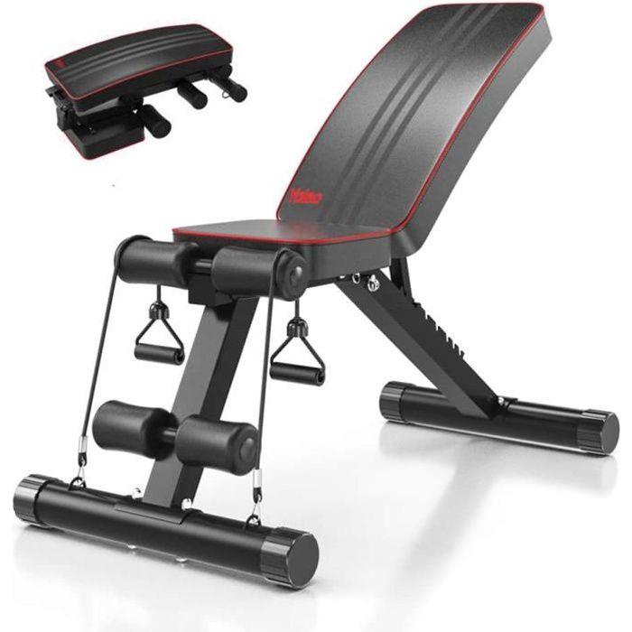 Banc de Musculation Pliable Multifonction Sit-up Fitness Musculation Bras Gym Domicile Bureau