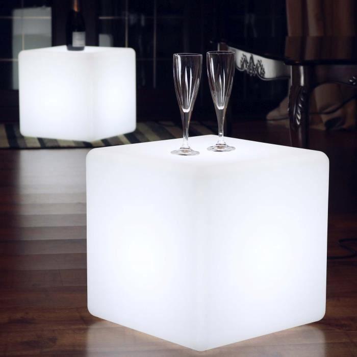 40cm Cube Lumineux LED Blanc, Tabouret Lampadaire Salon, Table Basse Design Moderne (Ampoule E27 Incluse) de PK Green