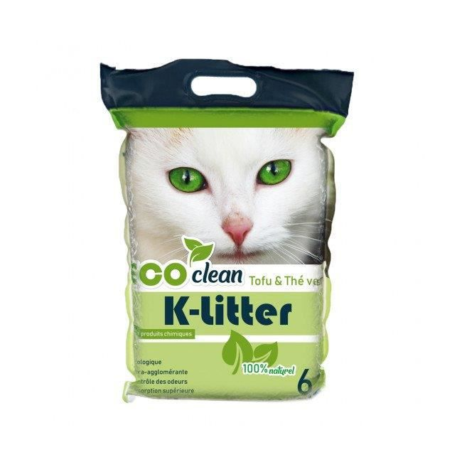 Litière végétale au tofu K-litter Sac 6 litres Parfum Thé vert