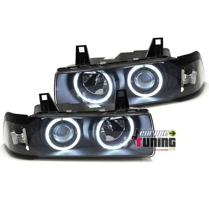 PHARES NEON CCFL ANGEL EYES BMW E36 SERIE 3 BERLINE / TOURING NOIRS (13712)