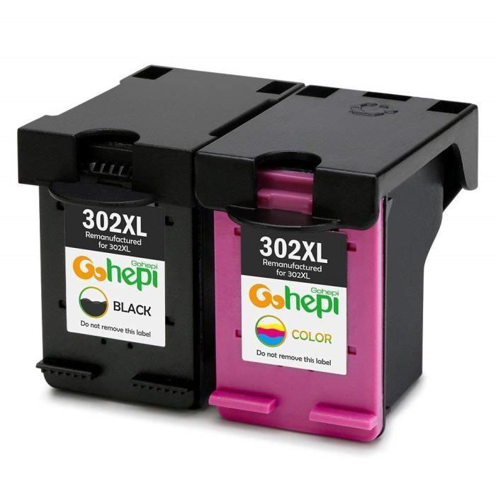 2× Cartouches d'encre reconditionnée pour HP 302 XL 302XL Compatible pour DeskJet 3639 3637 3630 2130 1110 Envy 4527 4525 4522 4520