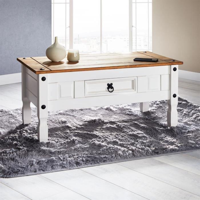 Table basse CAMPO table d'appoint rectangulaire en pin massif blanc et brun avec 1 tiroir, meuble de salon style mexicain en bois