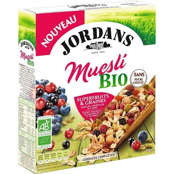 LOT DE 3 - JORDANS : Muesli Bio Superfruit et Graines 450 g
