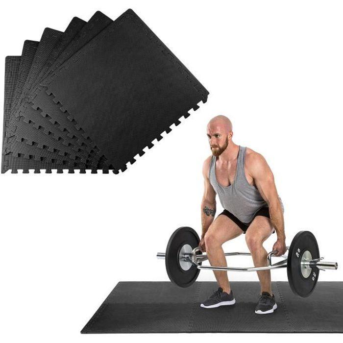 Klarfit Puzzta Set de 6 tapis de sol antidérapants en mousse EVA 12 bordures MemorySafe - Pour gym , yoga ou musculation - Noir
