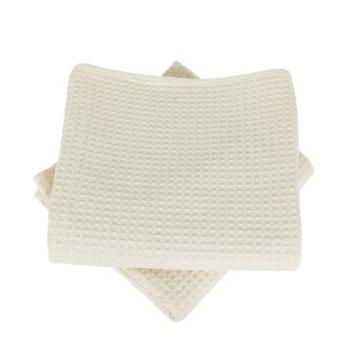 LINANDELLE - Lot de deux serviettes coton 57 fils nid d'abeille WEEK END - Ivoire - 70x140 cm