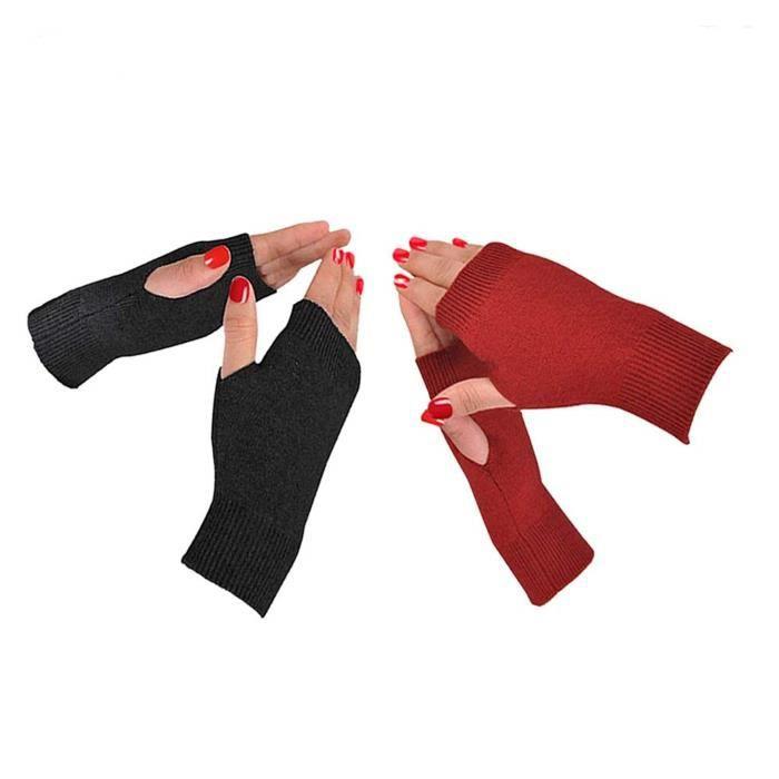 Gant Moufle NIH6K La moitié Mitaines pouce trou Cachemire Gants d'hiver chauds tricote des mitaines pour Taille-M