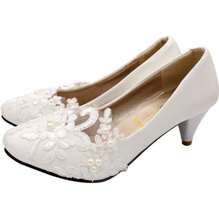 1 paire de chaussures de mariage de manuelles à talons bas pour femmes de mariée CHAUSSURES DE RANDONNEE