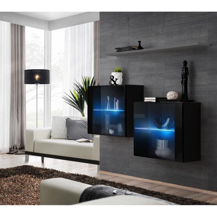 Ensemble meubles de salon SWITCH SBIII design, coloris noir brillant et porte vitrée avec système LED intégré, étagère grise. 30